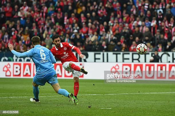 Yunus Malli of 1 FSV Mainz 05 scores the third goal during the Bundesliga match between 1 FSV Mainz 05 and Eintracht Frankfurt at Coface Arena on...