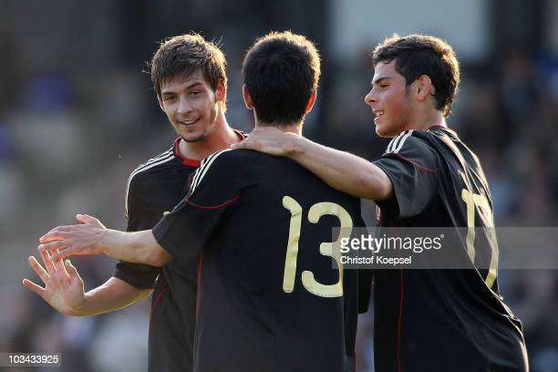 Yunus Malli of Germany celebrates the fifth goal with Marvin Plattenhardt of Germany and Kevin Volland during the U19 international friendly match...