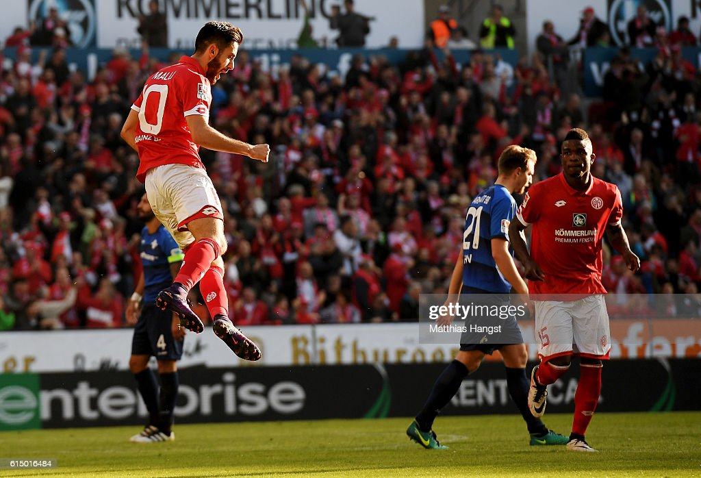 Yunus Malli of Mainz celebrates after he scores his team's 2nd goal by penalty kick during the Bundesliga match between 1. FSV Mainz 05 and SV Darmstadt 98 at Opel Arena on October 16, 2016 in Mainz, Germany.