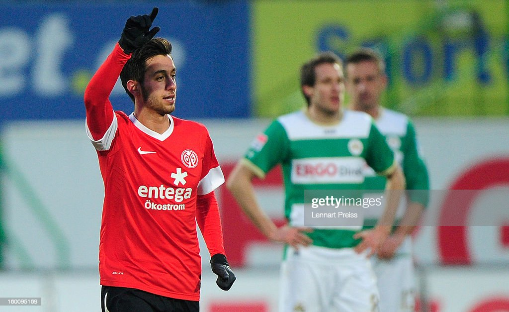 Yunus Malli (L) of Mainz celebrates his goal during the Bundesliga match between SpVgg Greuther Fuerth and 1. FSV Mainz 05 at Trolli-Arena on January 26, 2013 in Fuerth, Germany.