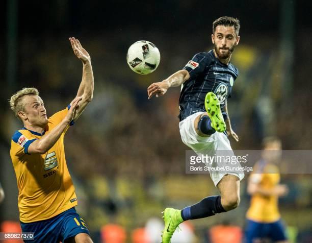 Yunus Malli of VfL Wolfsburg controls the ball during the Bundesliga Playoff Leg 2 match between Eintracht Braunschweig and VfL Wolfsburg at...