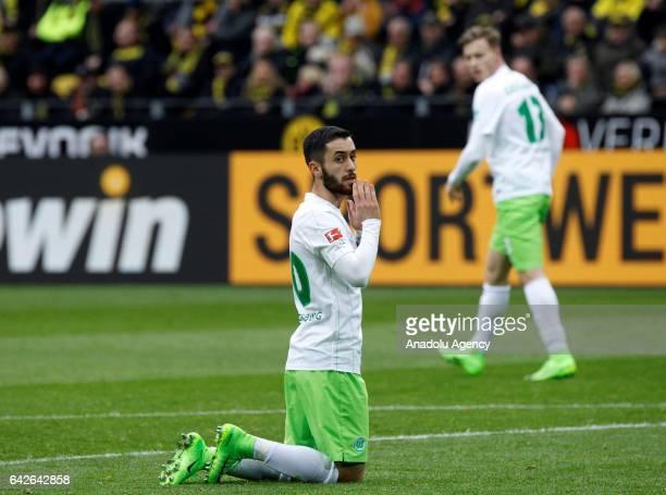 Yunus Malli of VfL Wolfsburg gestures after missing a chance to score during the Bundesliga soccer match between Borussia Dortmund and VfL Wolfsburg...