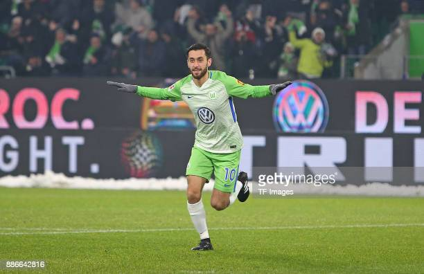 Yunus Malli of Wolfsburg celebrates after scoring his team`s first goal during the Bundesliga match between VfL Wolfsburg and Borussia...