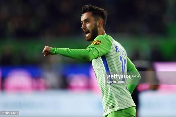 Yunus Malli of Wolfsburg celebrates his team's first goal during the Bundesliga match between VfL Wolfsburg and Hertha BSC at Volkswagen Arena on...