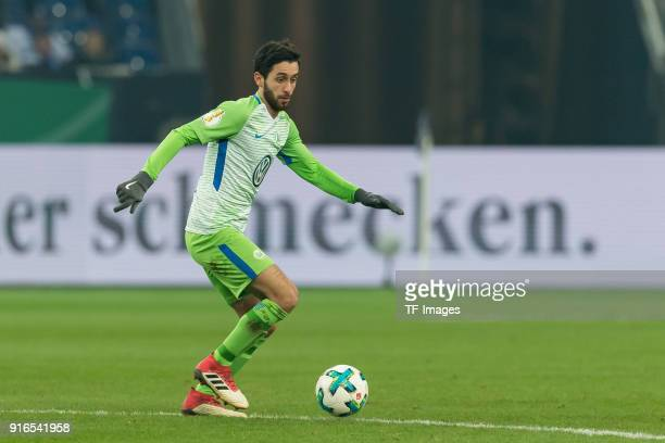 Yunus Malli of Wolfsburg controls the ball during the DFB Cup match between FC Schalke 04 and VfL Wolfsburg at VeltinsArena on February 7 2018 in...