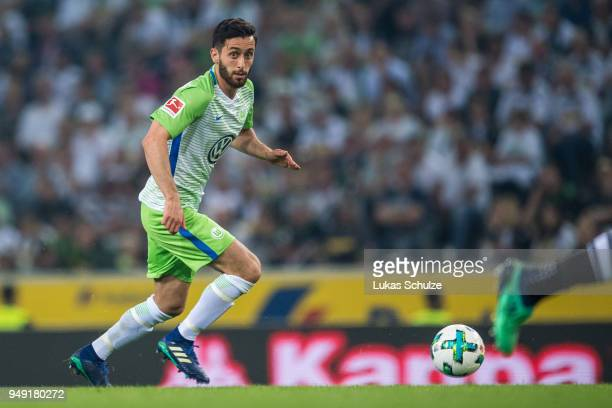Yunus Malli of Wolfsburg in action during the Bundesliga match between Borussia Moenchengladbach and VfL Wolfsburg at BorussiaPark on April 20 2018...