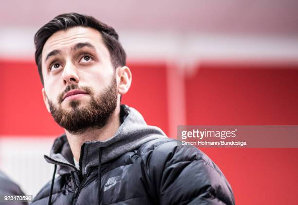 Yunus Malli of Wolfsburg looks on as he arrives in the tunnel prior to the Bundesliga match between 1 FSV Mainz 05 and VfL Wolfsburg at Opel Arena on...