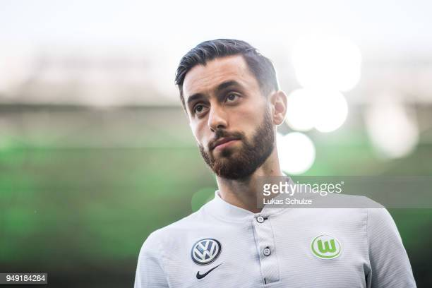 Yunus Malli of Wolfsburg looks up prior to the Bundesliga match between Borussia Moenchengladbach and VfL Wolfsburg at BorussiaPark on April 20 2018...