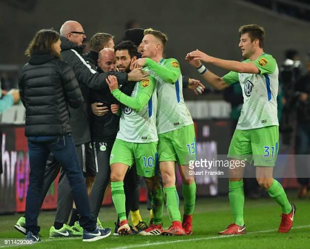 Yunus Malliof Wolfsburg celebrates scoring his goal during the Bundesliga match between Hannover 96 and VfL Wolfsburg at HDIArena on January 28 2018...