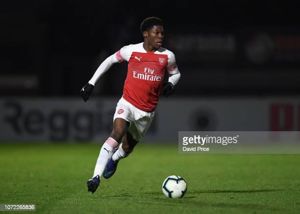 Yunus Musah of Arsenal during the match between Arsenal U18 and Northampton Town U18 at Meadow Park on December 12, 2018 in Borehamwood, England.