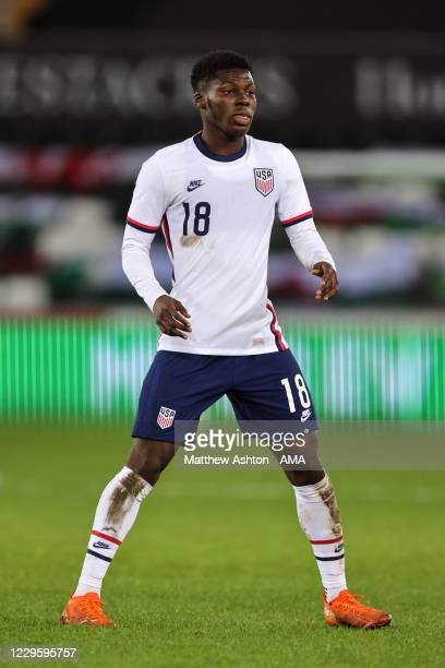 Yunus Musah of United States of America during the international friendly match between Wales and the USA at Liberty Stadium on November 12, 2020 in...
