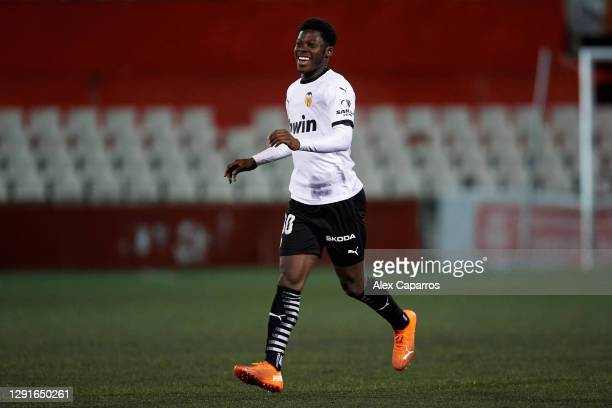 Yunus Musah of Valencia CF celebrates after scoring his team's second goal during the Copa del Rey first round match between Terrassa FC and Valencia...