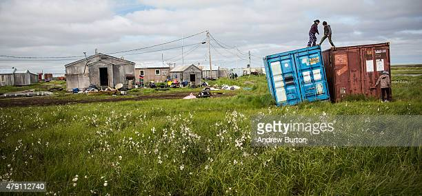 Yupik children play during summer vacation on June 30 2015 in Newtok Alaska Newtok which has a population of approximately of 375 ethnically Yupik...