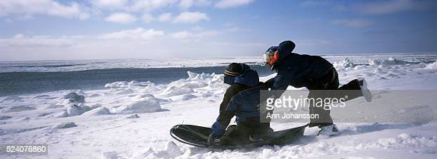 Yupik Eskimo children play by the Bering Sea by the village of Gambell on St. Lawrence Island, in Alaska.