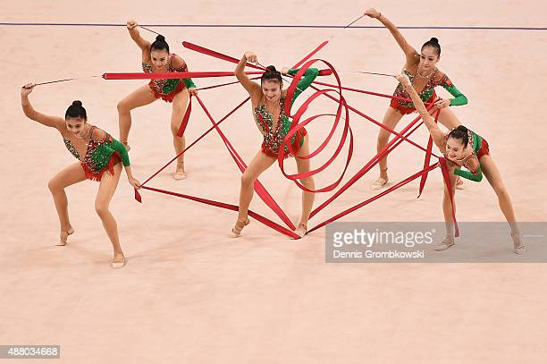 Yuqing Bao Siyao Shu Ye Yang Jingnan Zhao and Ling Zhang of China compete in the Group Apparatus Finals on Day 7 of the Rhythmic Gymnastics World...