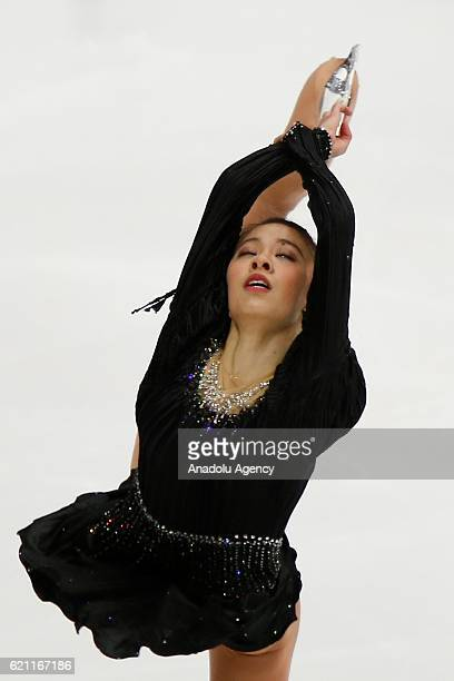 Yura Matsuda of Japan perform during the ladies short event on the first day of Cup of Russia the third stage of ISU Grand Prix series at the...