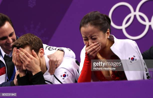 Yura Min and Alexander Gamelin of Korea react after competing during the Figure Skating Ice Dance Short Dance on day 10 of the PyeongChang 2018...