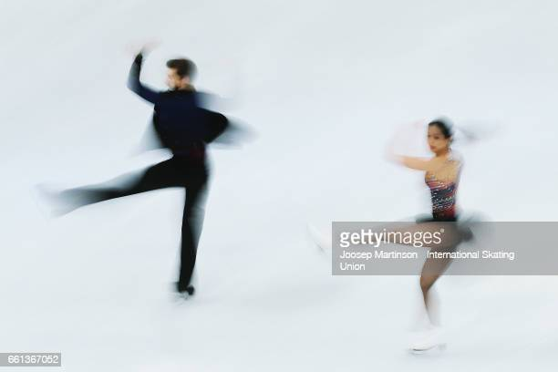 Yura Min and Alexander Gamelin of South Korea compete in the Ice Dance Short Dance during day three of the World Figure Skating Championships at...