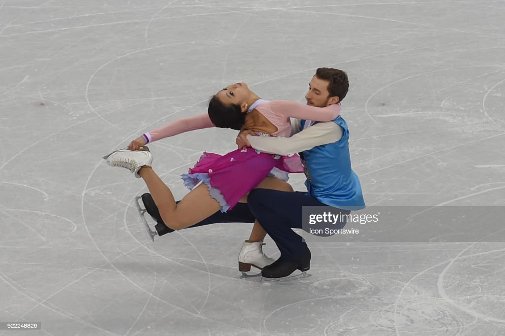 Yura Min and Alexander Gamelin (KOR) skate in the free dance of the Ice Dancing competition during the 2018 Winter Olympic Games at the Gangneung Ice Arena on February 20, 2018 in PyeongChang, South Korea.