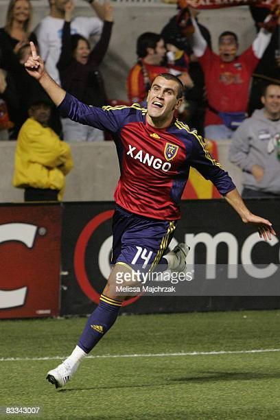 Yura Movsisyan of Real Salt Lake celebrates scoring the equalizing goal against FC Dallas during the Major League Soccer match between FC Dallas and...