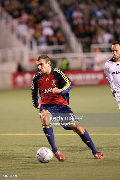 Yura Movsisyan of Real Salt Lake kicks the ball against the Los Angeles Galaxy at Rice Eccles Stadium on May 3, 2008 in Salt Lake City, Utah.