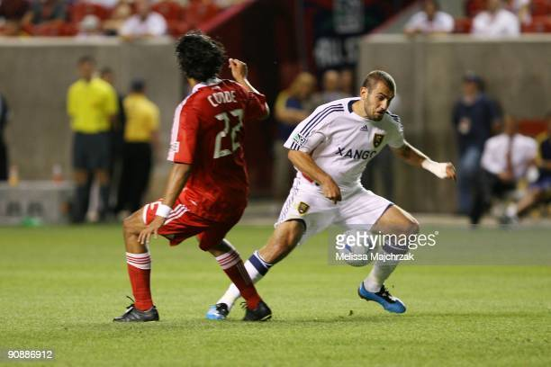 Yura Movsisyan of Real Salt Lake takes control of the ball against Wilman Conde of Chicago Fire at Rio Tinto Stadium on September 12 2009 in Sandy...