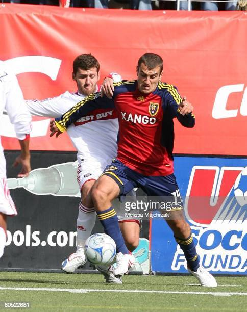 Yura Movsisyan of the Real Salt Lake goes after the ball against the Chicago Fire at Rice Eccels Stadium on March 29, 2008 in Salt Lake City, Utah.