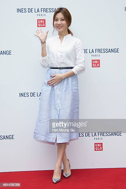 Yura of South Korean girl group Girls Day attends the photocall for the UNIQLO 'Ines De La Fressange' 2015 S/S Collaboration on February 26 2015 in...