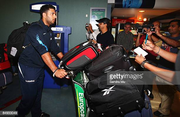 Yuraj Singh of India walks through the arrivals hall as the Indian cricket team arrive at Auckland International Airport on February 20 2009 in...