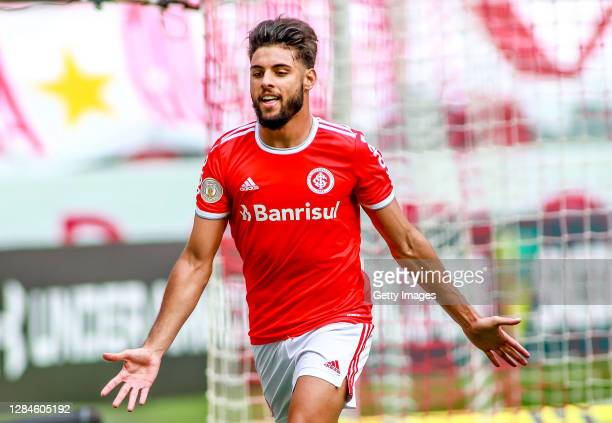 Yuri Alberto of Internacional celebrates after scoring the first goal of his team during the match against Coritiba as part of Brasileirao Series A...