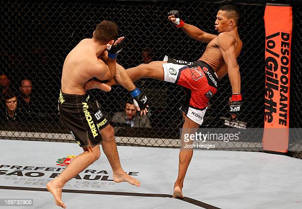 Yuri Alcantara kicks Pedro Nobre in their bantamweight fight at the UFC on FX event on January 19 2013 at Ibirapuera Gymnasium in Sao Paulo Brazil