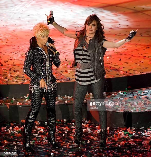 Yuri and Maria Jose perform during the concert Unidos Por Veracruz at Auditorio Nacional on November 9 2010 in Mexico City Mexico