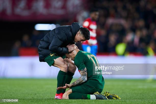 Yuri Berchiche and Ander Capa of Athletic Club celebrates after winning the Copa del Rey semifinal 2nd leg match between Granada CF and Athletic Club...