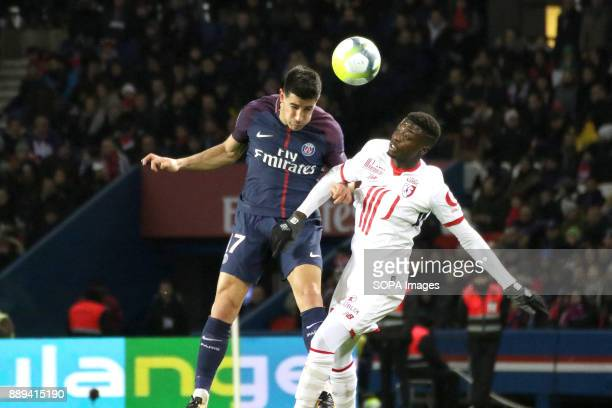 Yuri Berchiche and Edgar Miguel Ie in action during the French Ligue 1 soccer match between Paris Saint Germain and Lille at Parc des Princes