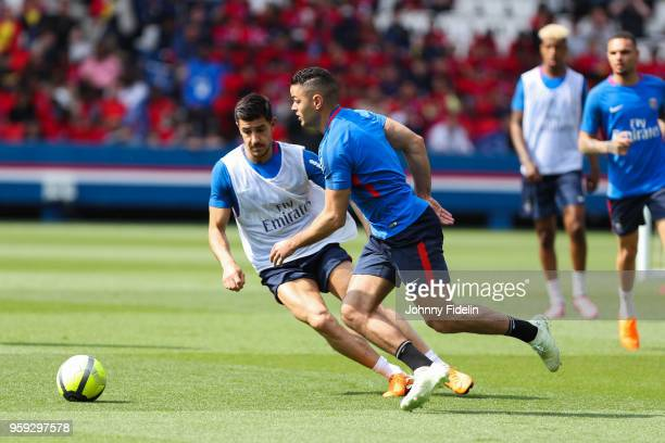 Yuri Berchiche and Hatem Ben Arfa of PSG during the training session of Paris Saint Germain at Parc des Princes on May 16 2018 in Paris France