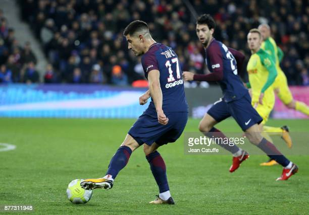 Yuri Berchiche and Javier Pastore of PSG during the French Ligue 1 match between Paris Saint Germain and FC Nantes at Parc des Princes stadium on...