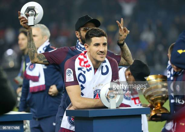 Yuri Berchiche Dani Alves aka Daniel Alves of PSG celebrate during the French Ligue 1 Championship Trophy Ceremony following the Ligue 1 match...