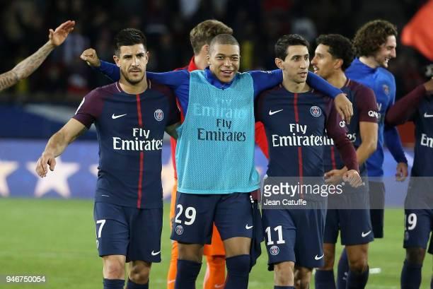 Yuri Berchiche Kylian Mbappe Angel Di Maria of PSG celebrate winning the French Championship following the Ligue 1 match between Paris Saint Germain...