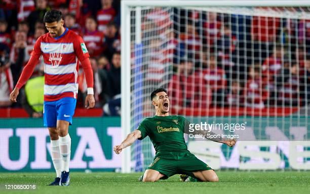 Yuri Berchiche of Athletic Bilbao celebrate after winning the Copa del Rey Semi Final second leg match between Granada CF and Athletic Club at Nuevo...