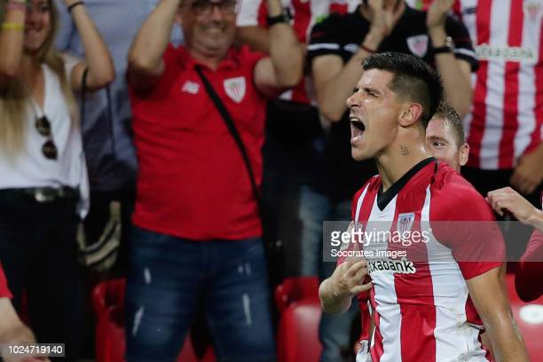 Yuri Berchiche of Athletic Bilbao celebrates 20 during the La Liga Santander match between Athletic de Bilbao v SD Huesca at the Estadio San Mames on...
