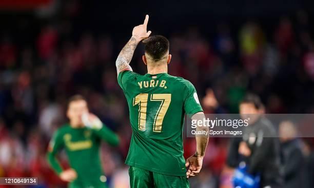 Yuri Berchiche of Athletic Bilbao celebrates scoring his team's goal during the Copa del Rey Semi Final second leg match between Granada CF and...