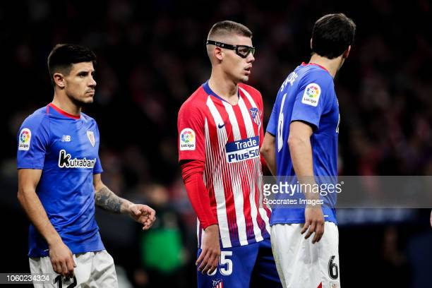 Yuri Berchiche of Athletic Bilbao Montero of Atletico Madrid Mikel San Jose of Athletic Bilbao during the La Liga Santander match between Atletico...