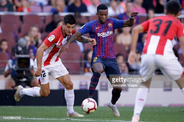 Yuri Berchiche of Athletic Bilbao Nelson Semedo of FC Barcelona during the La Liga Santander match between FC Barcelona v Athletic de Bilbao at the...