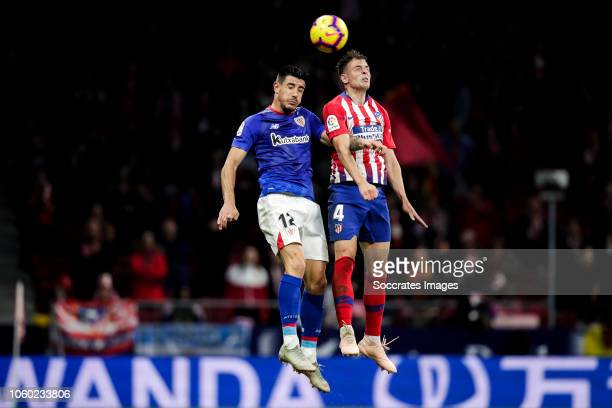 Yuri Berchiche of Athletic Bilbao Santiago Arias of Atletico Madrid during the La Liga Santander match between Atletico Madrid v Athletic de Bilbao...