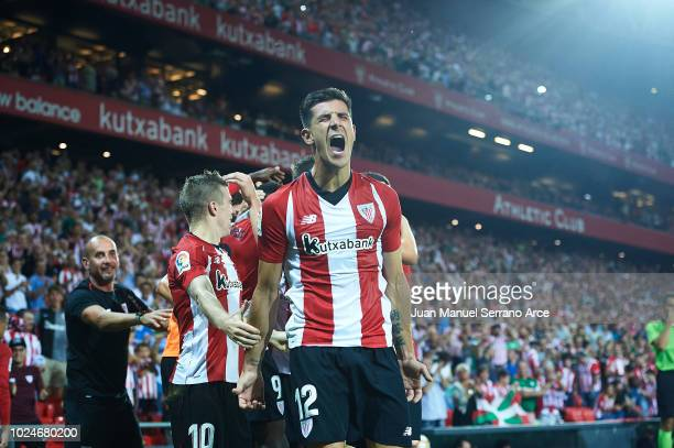 Yuri Berchiche of Athletic Club celebrates after scoring during the La Liga match between Athletic Club and SD Huesca at San Mames Stadium on August...