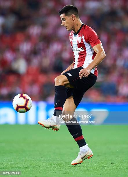 Yuri Berchiche of Athletic Club in action during the La Liga match between Athletic Club and SD Huesca at San Mames Stadium on August 27 2018 in...
