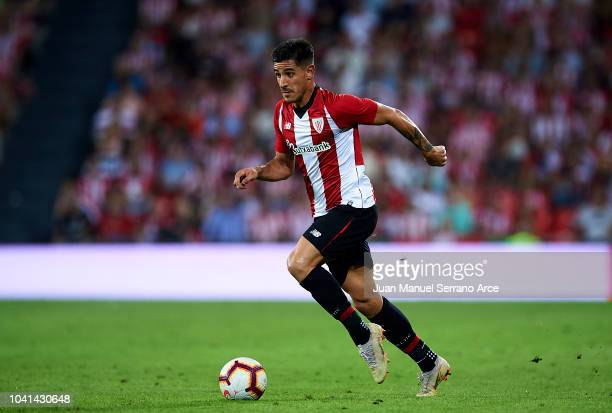 Yuri Berchiche of Athletic Club in action during the La Liga match between Athletic Club Bilbao and Villarreal CF at San Mames Stadium on September...