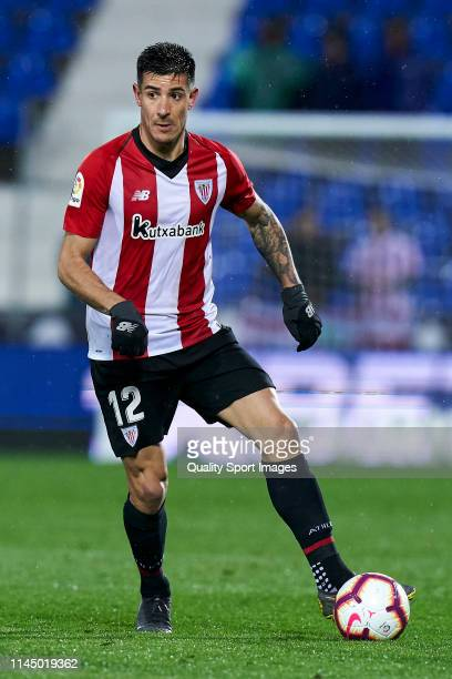 Yuri Berchiche of Athletic Club in action during the La Liga match between CD Leganes and Athletic Club at Estadio Municipal de Butarque on April 24...