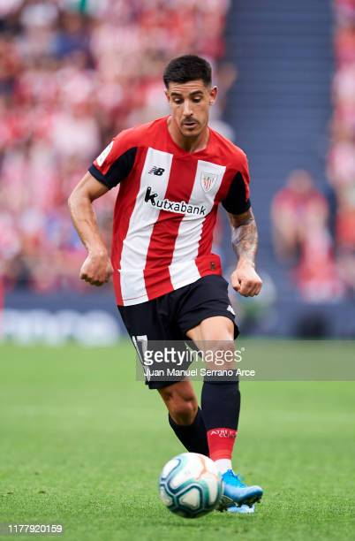 Yuri Berchiche of Athletic Club in action during the Liga match between Athletic Club and Valencia CF at San Mames Stadium on September 28 2019 in...