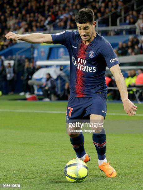 Yuri Berchiche of Paris Saint Germain during the French League 1 match between Paris Saint Germain v Rennes at the Parc des Princes on May 12 2018 in...